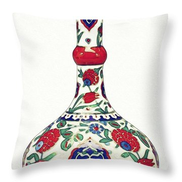 An Ottoman Iznik Style Floral Design Pottery Polychrome, By Adam Asar, No 5a Throw Pillow