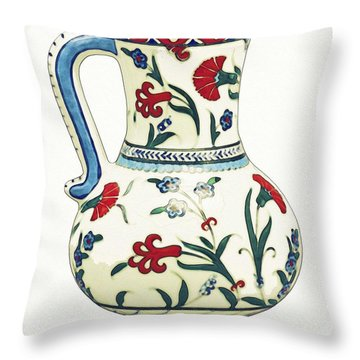 An Ottoman Iznik Style Floral Design Pottery Polychrome, By Adam Asar, No 6a Throw Pillow