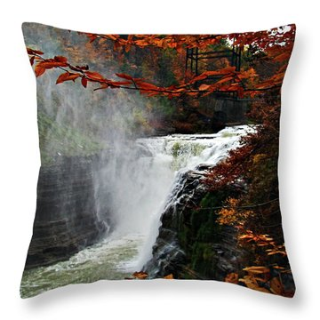 An Upper Letchworth Autumn Throw Pillow by Lianne Schneider
