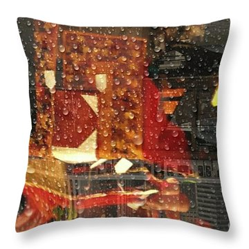 Taking The Train On A  Rainy Day  Throw Pillow