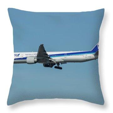 A N A Airplane J A 738 A  Boeing 777-381 Landing L A X Los Angeles International Airport Art Throw Pillow