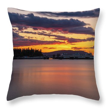 Anacortes Ferry Dock Sunset Gateway To The San Juan Islands Throw Pillow