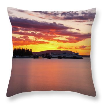 Anacortes Ferry Dock Sunset Smooth Reflections Throw Pillow