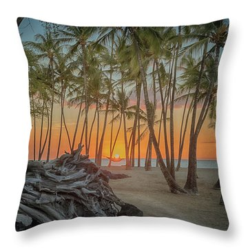 Anaehoomalu Beach Sunset Throw Pillow