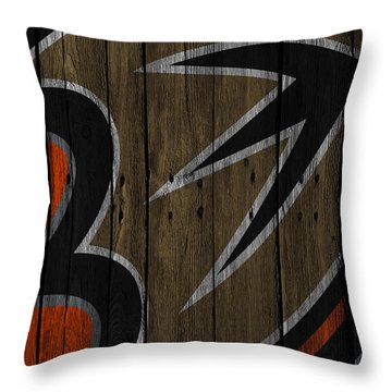 Anaheim Ducks Wood Fence Throw Pillow
