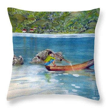 Throw Pillow featuring the painting Anak Dan Perahu by Melly Terpening