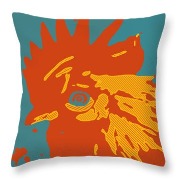 Analog Rooster Rocks Throw Pillow
