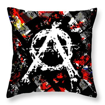 Anarchy Punk Throw Pillow by Roseanne Jones