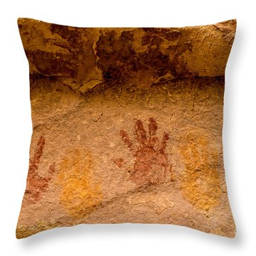 Anasazi Painted Handprints - Utah Throw Pillow