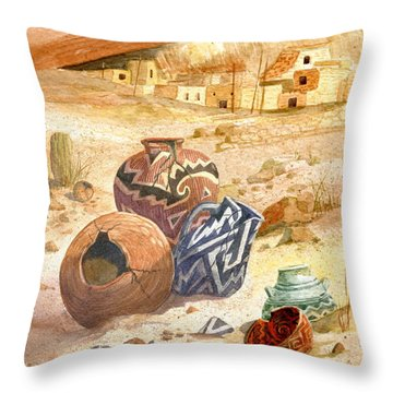 Throw Pillow featuring the painting Anasazi Remnants by Marilyn Smith