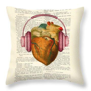 Anatomical Heart And Headphonesin Color  Throw Pillow