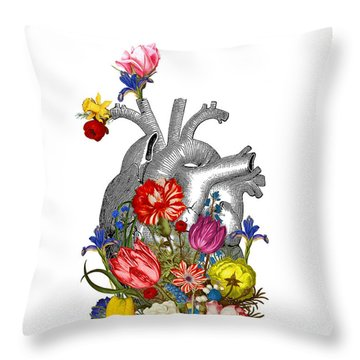 Anatomical Heart With Colorful Flowers Throw Pillow