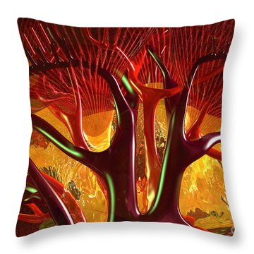 Throw Pillow featuring the digital art Anatomy Abstract #1 Kidney by Russell Kightley