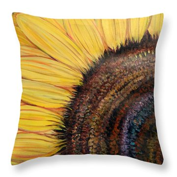 Throw Pillow featuring the painting Anatomy Of A Sunflower by Ecinja Art Works
