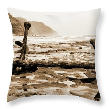 Throw Pillow featuring the photograph Anchor At Rest Sepia Tones by Angela DeFrias