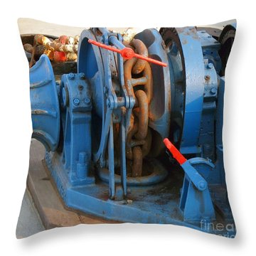 Anchor Winch Throw Pillow by Yali Shi
