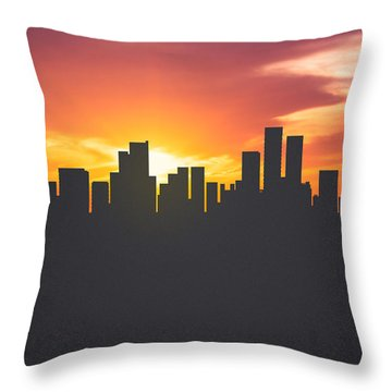 Anchorage Alaska Sunset Skyline 01 Throw Pillow by Aged Pixel