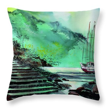 Throw Pillow featuring the painting Anchored by Anil Nene