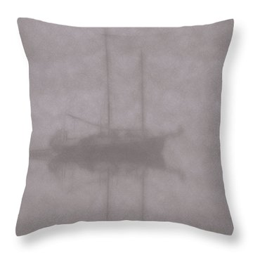 Anchored In Fog #1 Throw Pillow by Wally Hampton