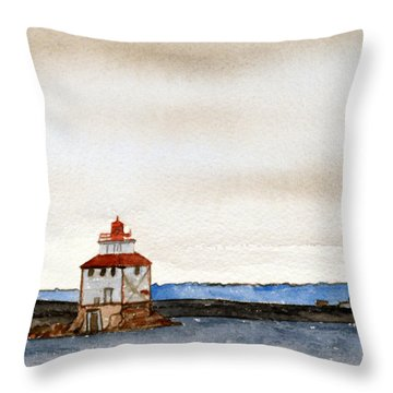 Anchored In The Bay Throw Pillow by R Kyllo