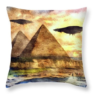 Ancient Aliens And Ancient Egypt Throw Pillow