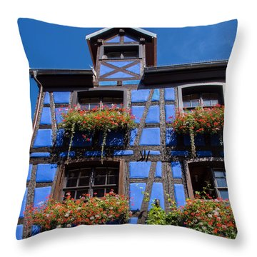 Ancient Alsace Auberge In Blue Throw Pillow