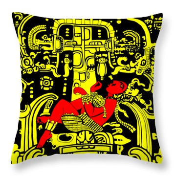 Ancient Astronaut Yellow And Red Version Throw Pillow