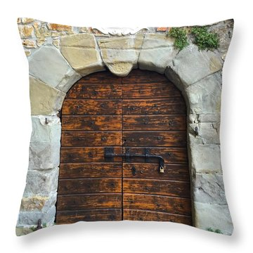 Ancient Castle Castel Door Trieste Throw Pillow