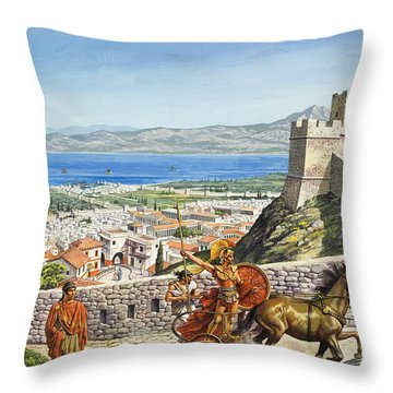 Ancient Corinth Throw Pillow by Roger Payne