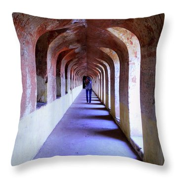 Ancient Gallery At Bada Imambara Throw Pillow