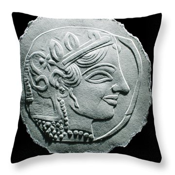 Ancient Greek Relief Seal Drawing Throw Pillow by Suhas Tavkar