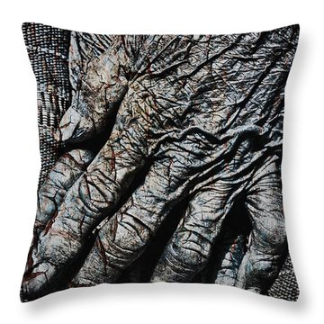 Ancient Hands Throw Pillow by Skip Nall