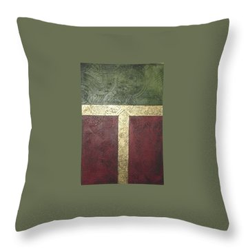 Throw Pillow featuring the painting Ancient Hieroglyphics by Bernard Goodman
