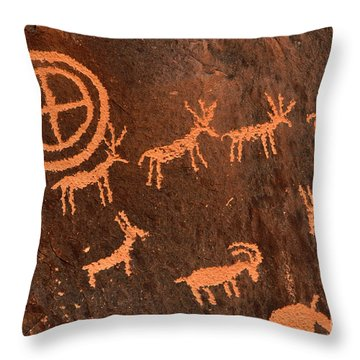 Ancient Indian Petroglyphs Throw Pillow by Gary Whitton
