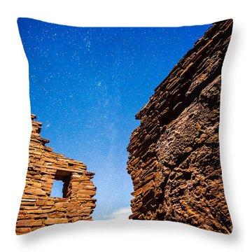 Throw Pillow featuring the photograph Ancient Native American Pueblo Ruins And Stars At Night by Bryan Mullennix