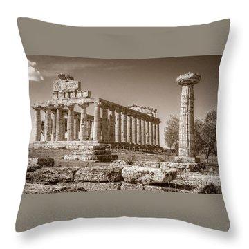 Ancient Paestum Architecture Throw Pillow