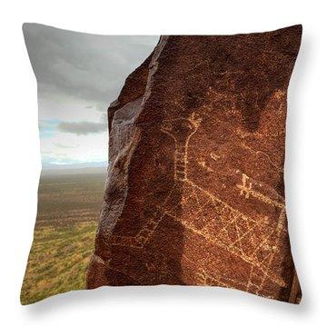 Ancient Petroglyph At Three Rivers Petroglyph Site Throw Pillow