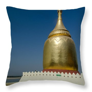 Ancient Riverside Stupa Along The Irrawaddy River In Burma Throw Pillow