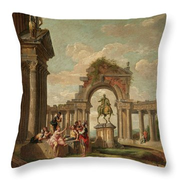 Ancient Ruins With Rider Throw Pillow