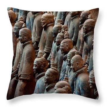 Ancient Soldier Statues Stand At Front Throw Pillow by O. Louis Mazzatenta