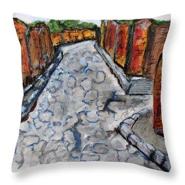 Ancient Street, Pompeii Throw Pillow