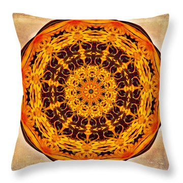 Ancient Sun Kaleidoscope Throw Pillow