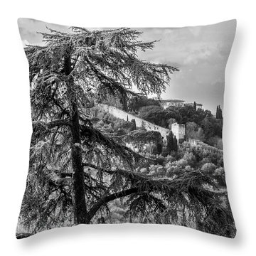 Ancient Walls Of Florence-bandw Throw Pillow by Sonny Marcyan