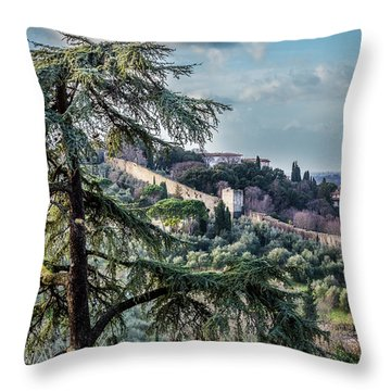 Ancient Walls Of Florence Throw Pillow by Sonny Marcyan