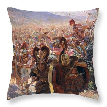 Ancient Warriors Throw Pillow by Georges Marie Rochegrosse