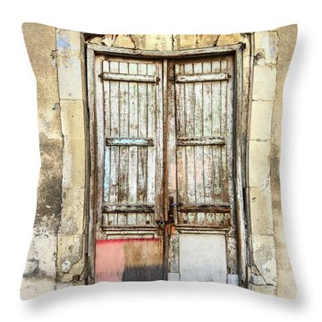Ancient Wooden Door In Old Town. Limassol. Cyprus Throw Pillow