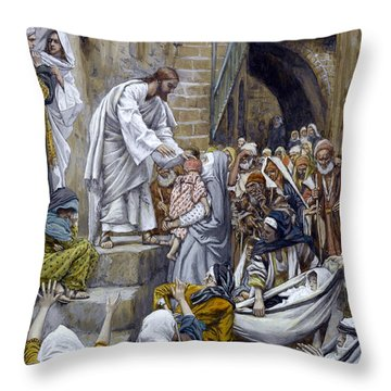 And All The City Was Gathered Together At The Door Throw Pillow by Tissot