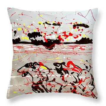 Throw Pillow featuring the mixed media And Down The Stretch They Come by J R Seymour