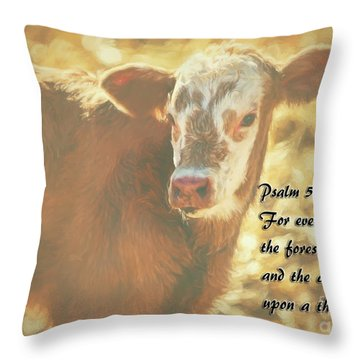 And The Cattle Throw Pillow by Janice Rae Pariza