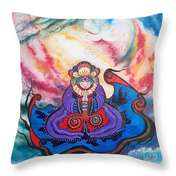 Throw Pillow featuring the painting And We Pray by Sigrid Tune